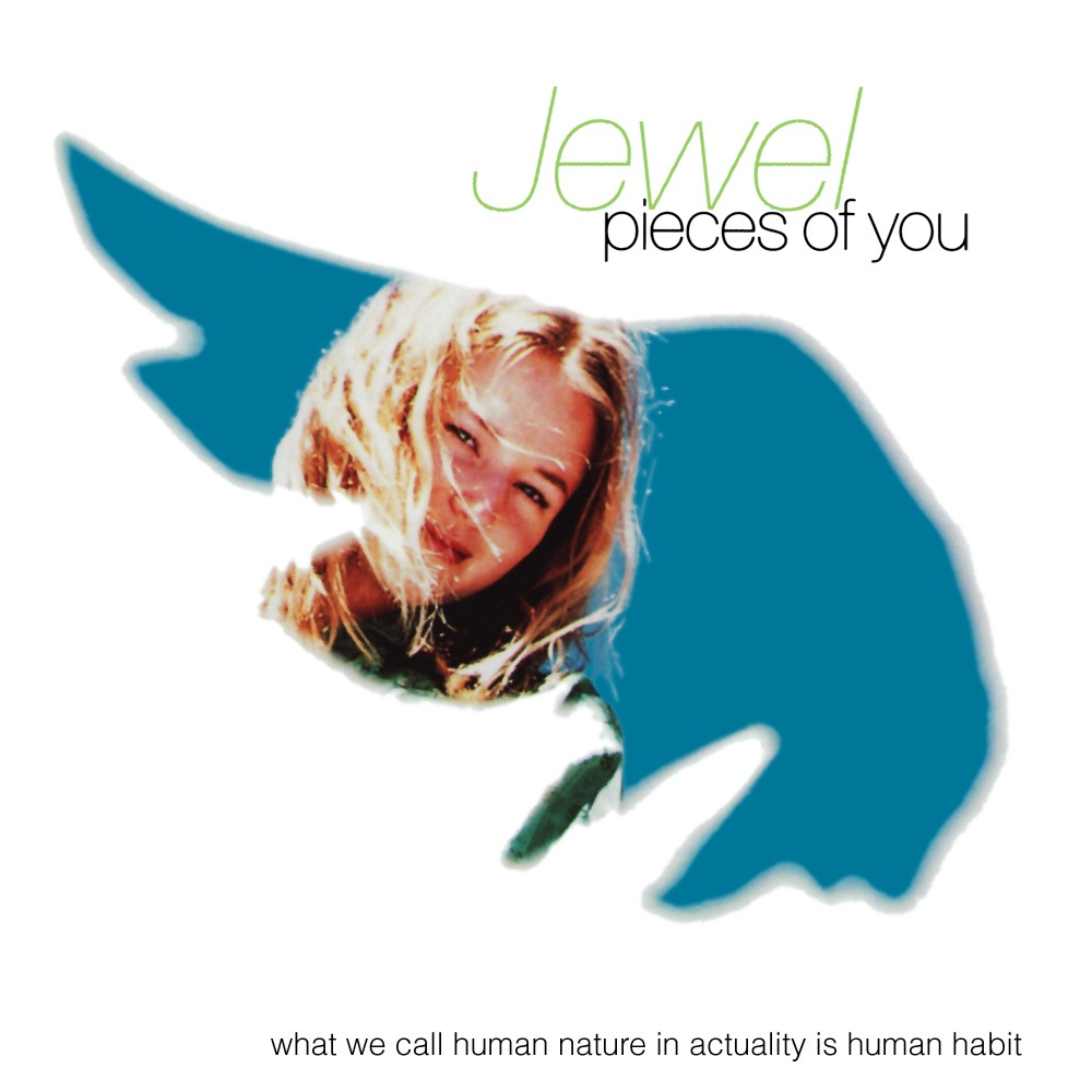 "Jewel stares through a wing-shaped sheet on the cover of her debut album ""Pieces of You"" which features ""Foolish Games"""