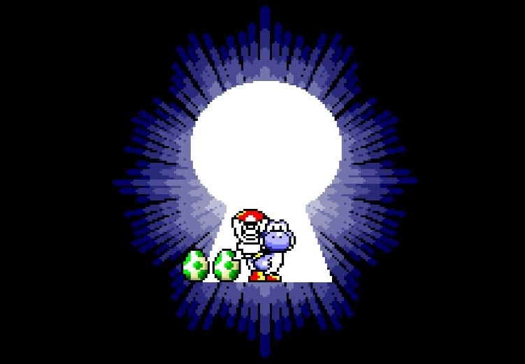 Mario and Yoshi exit the level through a giant, magical keyhole.