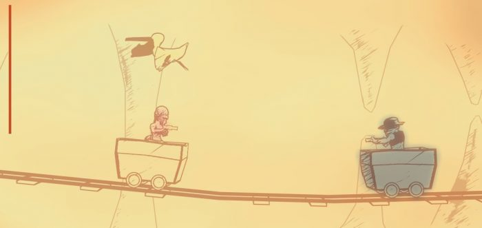 Ms Johnson is toting a gun, and riding a mine cart as a pelican flies overhead.