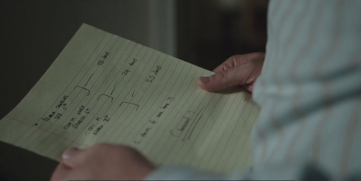 Andy holds Holly's notes outlining the links among the three cases she's investigating