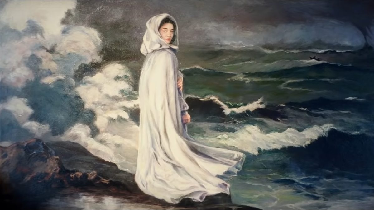 Picard S1E1 - Painting of a girl in a white cloak standing next the stormy waves crashing on shore