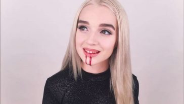 Poppy with blood coming out of her mouth in one of her early disturbing YouTube videos