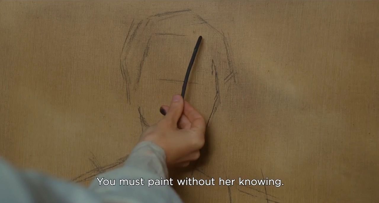 "Marianne's hand is sketching Heloise's face, the lines ""You must paint without her knowing."" are transcribed"