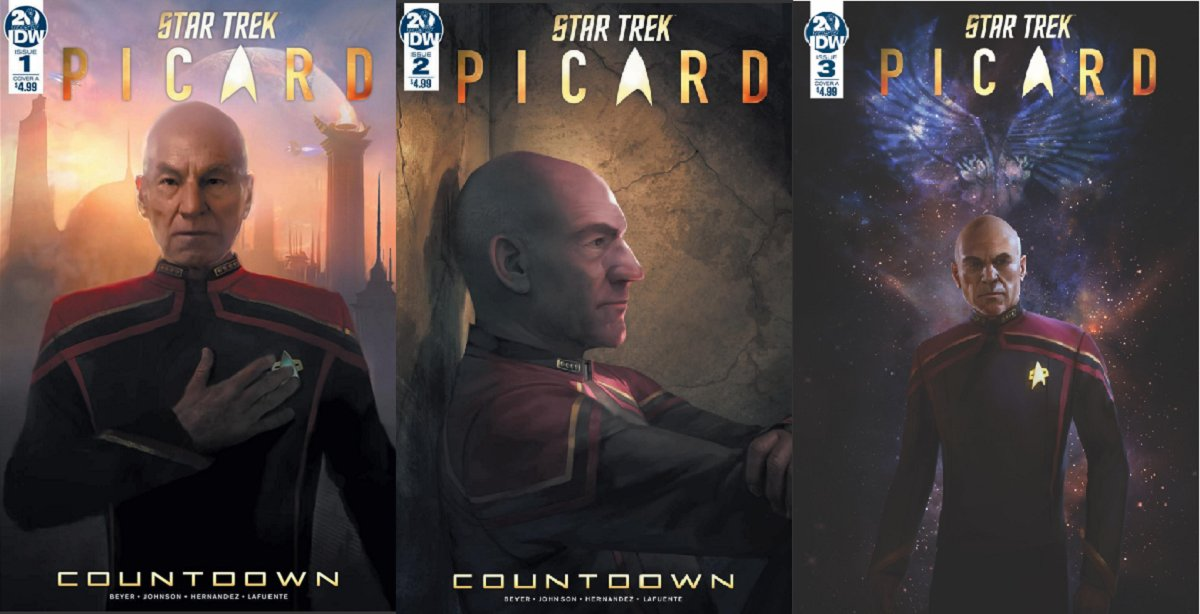 Star Trek Picard - Covers of Countdown comic issues #1-#3