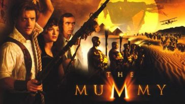 The Mummy 1999 Movie Poster Brendan Fraser Rachel Weisz John Hannah with mummies and Hamunaptra in the background and Fraser holding a gun