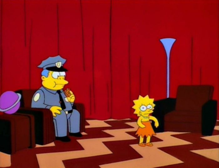 The Simpsons cashed in on the Twin Peaks mania of the original series in a Red Room skit.