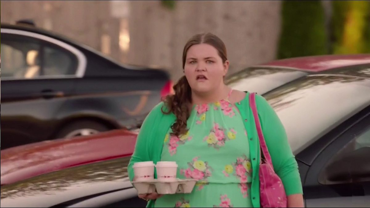 Twin Peaks Part 6 - Miriam stands on the sidewalk, mouth agape, with coffees to go in hand