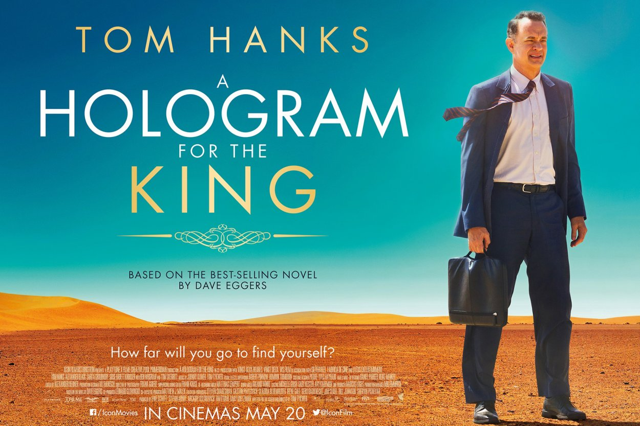 official poster for the film. Tom hanks's character standing in the desert in a suit with his briefcase