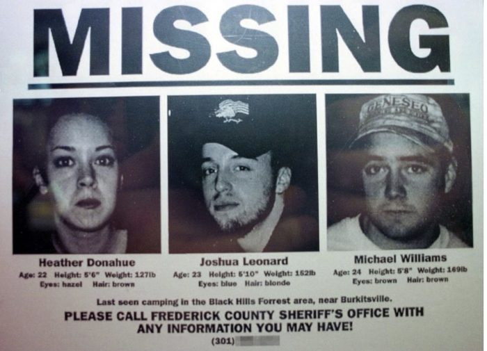 Missing poster with the missing characters from Blair Witch.
