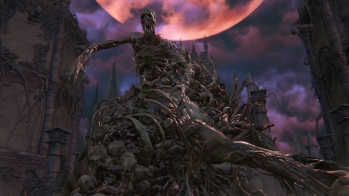 The One Reborn, a hulking amalgamation of corpses, looms against a blood moon.