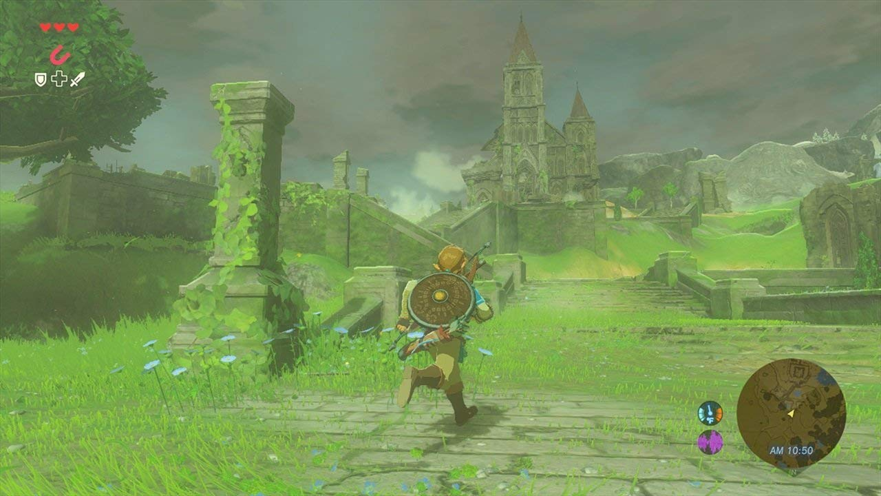 Link running around some temple ruins in the rain