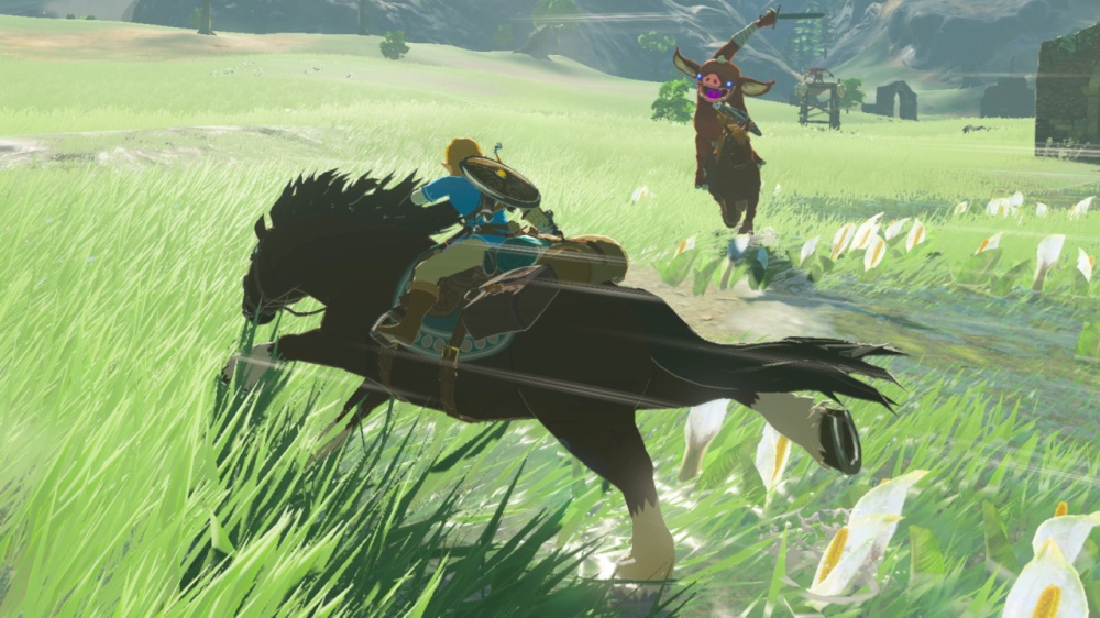 Link on a horse, firing an arrow at an enemy coming straight for him, also on a horse