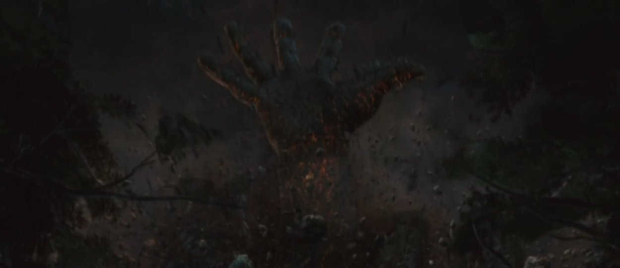 A giant hand breaks the surface at the end of The Cabin in the Woods