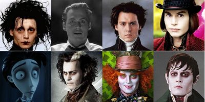 From left to right we see Johnny Depp in mutiple incarnations he has portrayed over the years in Tim Burton movies.