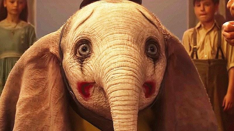 Dumbo the elephant with a sad clown face
