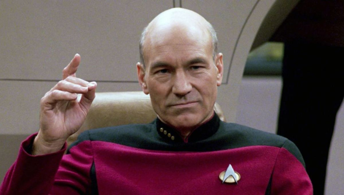 "Picard on the bridge of the Enterprise, about to ""Engage"""