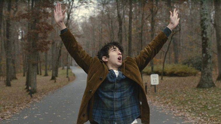 Jamie Schwartz screams with exasperation in the middle of a forest road.