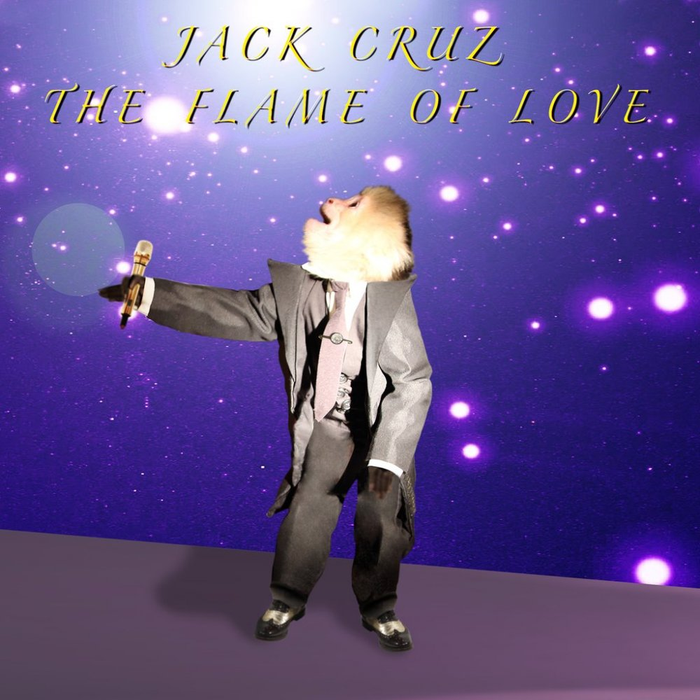 Jack Cruz holds a mic on the cover of The Flame of Love