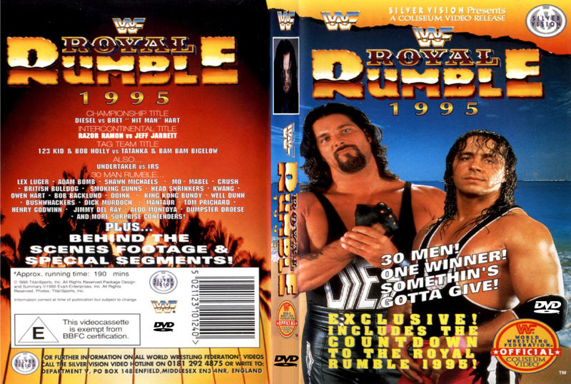 dvd artwork, with participants list on the back, and Brett Hart next to his match rival, with a beach scene behind them.