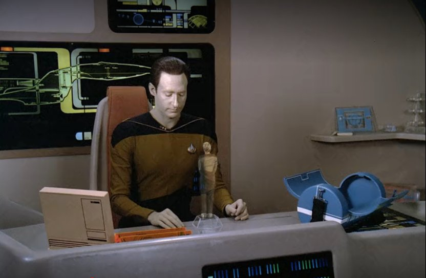 Data with a hologram of Tasha in Measure of a Man
