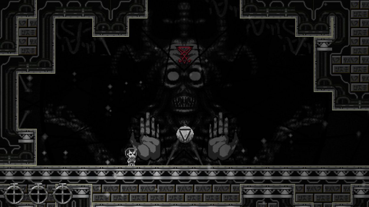 The undead player character stands in a chamber with a large symbol in the middle while a creepy face lurks in the background