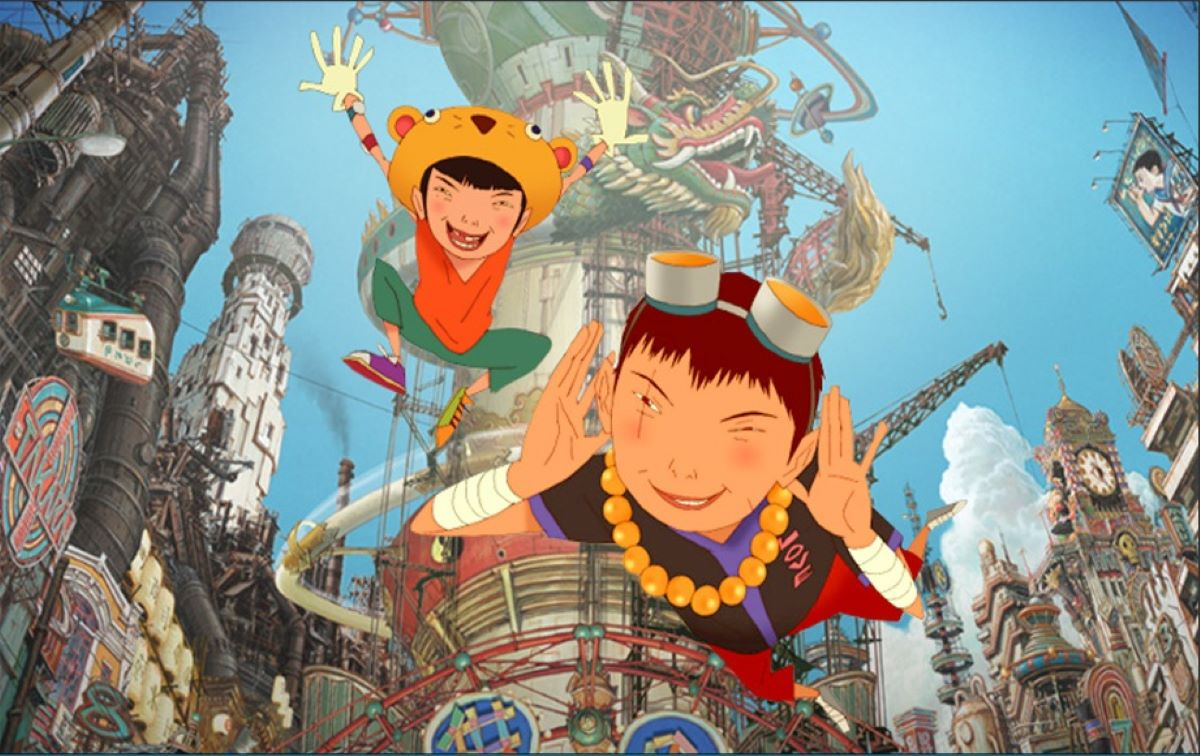 Brothers Black and White play in the sprawling playground of their city in Tekkonkinkreet