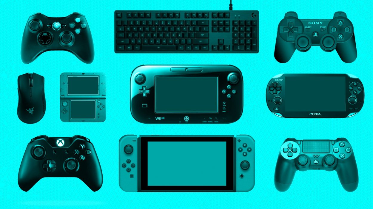 Several of the more recent console controllers sit against a blue background, including a keyboard, several Playstation controllers, a Vita, a 3DS, an Xbox 1 controller, a Switch controller, and a WiiU tablet