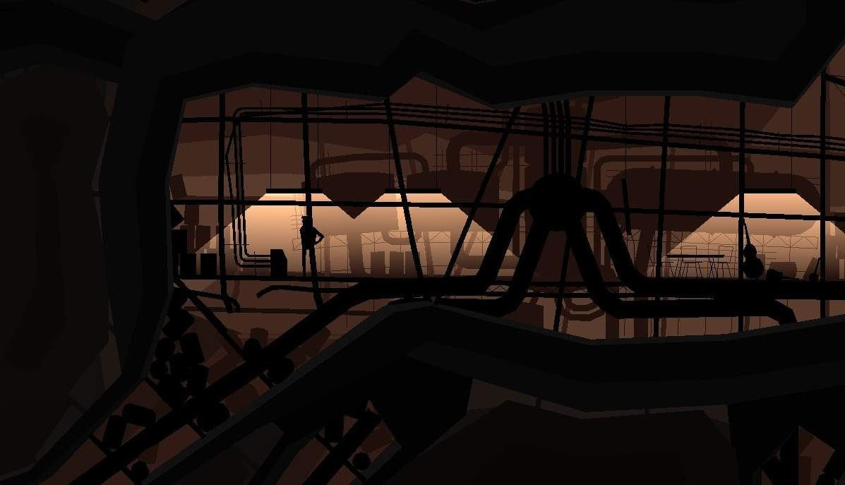 Silhouettes and shadows are featured, surrounded by pipes and windows.