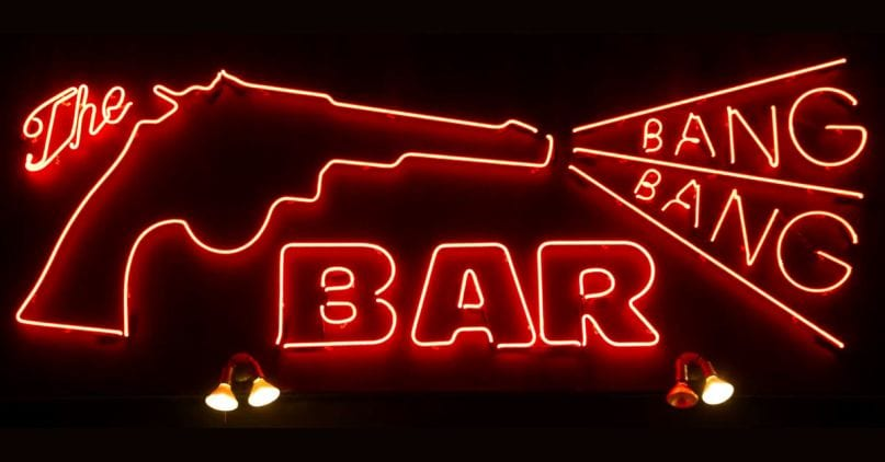 The neon red gun blasting Bang and Bang, with Bar below them.