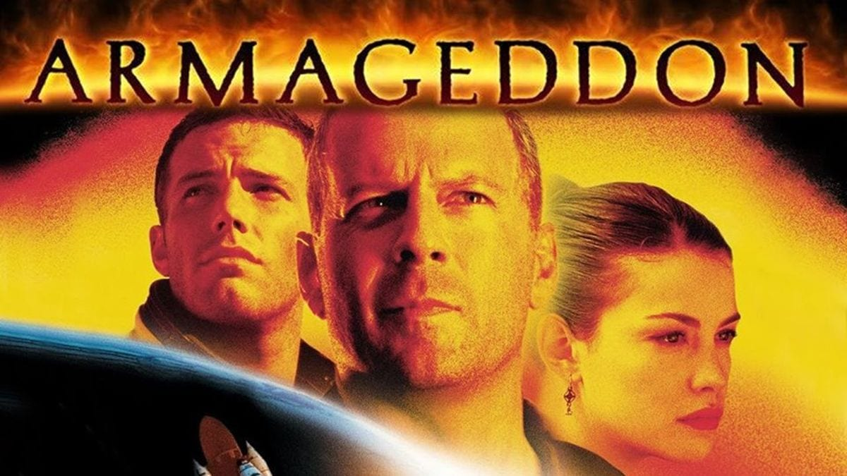 Ben Affleck, Bruce Willis and Liv Tyler on a poster for Armageddon