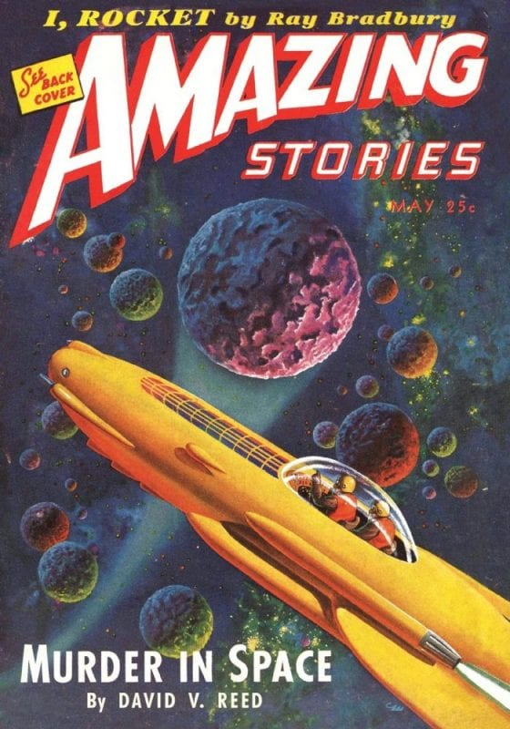 Yellow rocket with colorful planets in the background of Amazing Stories magazine