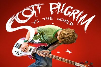 Scott Pilgrim strumming a guitar
