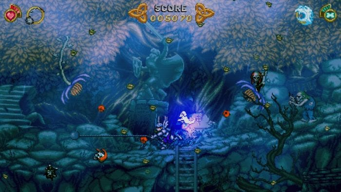 A screenshot from Battle Princess Madelyn shows the protagonist wielding a large ball on a chain.