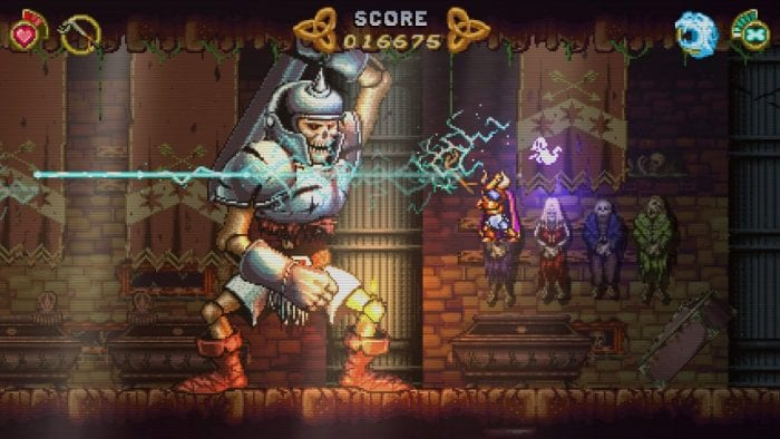 A screenshot from Battle Princess Madelyn shows her battle a gigantic skeletal knight.