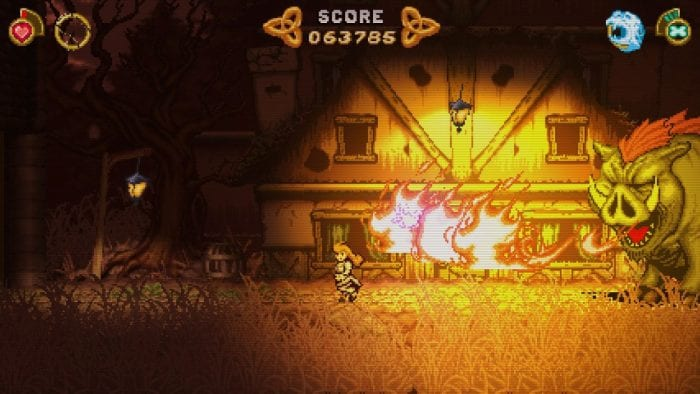 A screenshot from Battle Princess Madelyn, shows her avoiding the fire of a giant yellow bovine creature with orange hair.