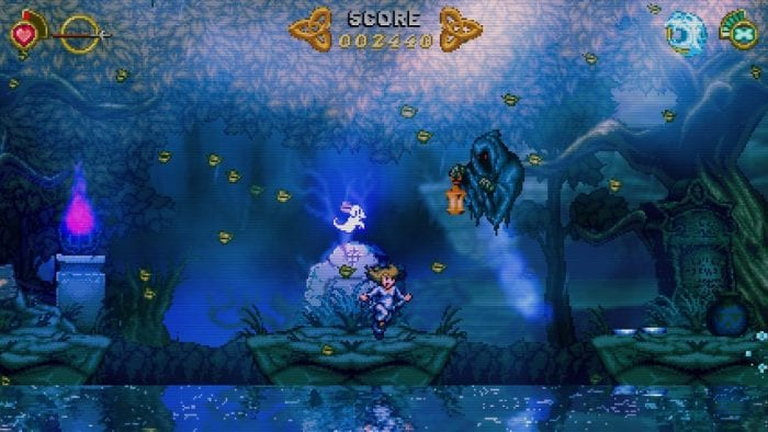 A screenshot from Battle Princess Madelyn shows her being watched by a cloaked specter with a lantern.
