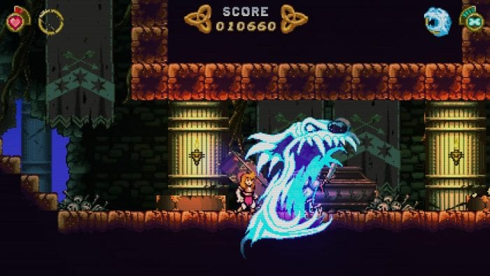 A screenshot from Battle Princess Madelyn shows her battling a large spectral ghost.