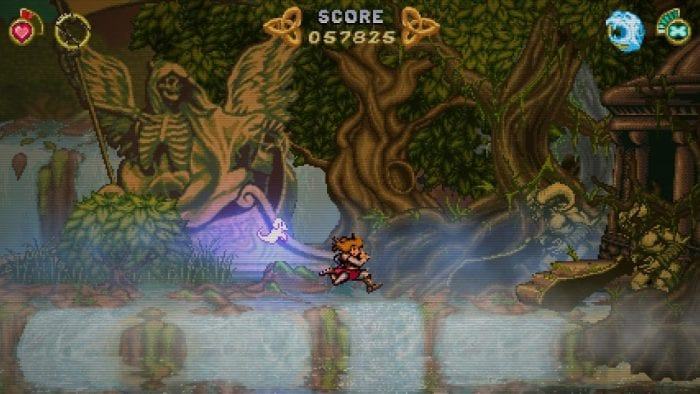 A screenshot from Battle Princess Madelyn, shows her running through a twisty treed forest.