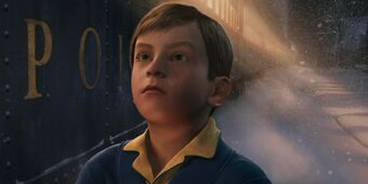 Boy Looking Up, wearing a robe with snow in the background and a light shining at an angle behind him with a train car on the left
