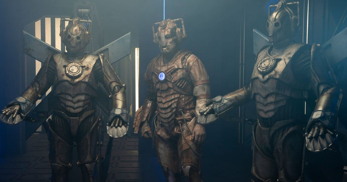 Three Cybermen gather in Doctor Who S12E9 Ascension of the Cybermen