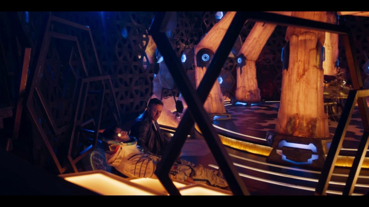 "Adam and Jake sit in the TARDIS in Doctor Who S12E6: ""Praxeus"""