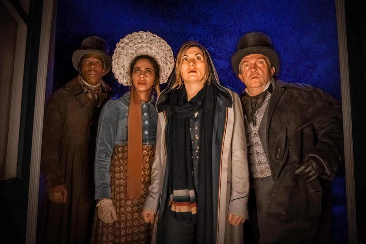 """Ryan, Yaz, the Doctor, and Graham look on in Doctor Who S12E8: """"The Haunting of Villa Diodati"""""""