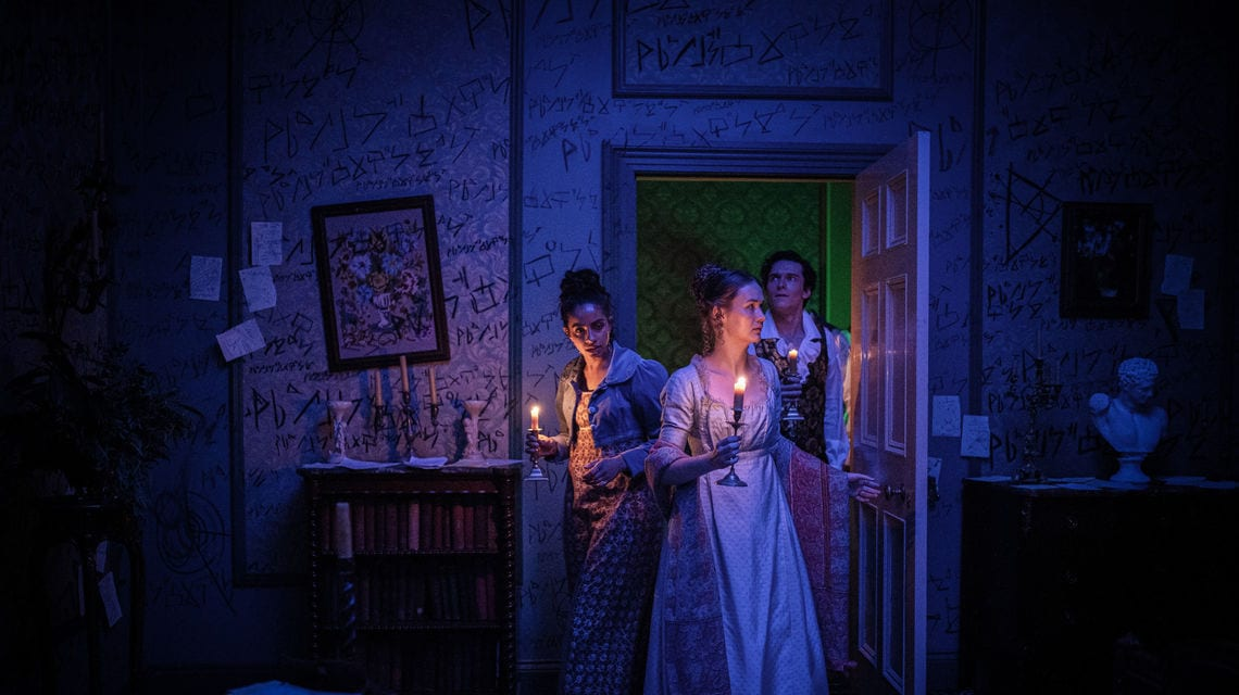 "Yaz, Mary Shelley, and Lord Byron search for Percy's room in Doctor Who S12E8: ""The Haunting of Villa Diodati"""