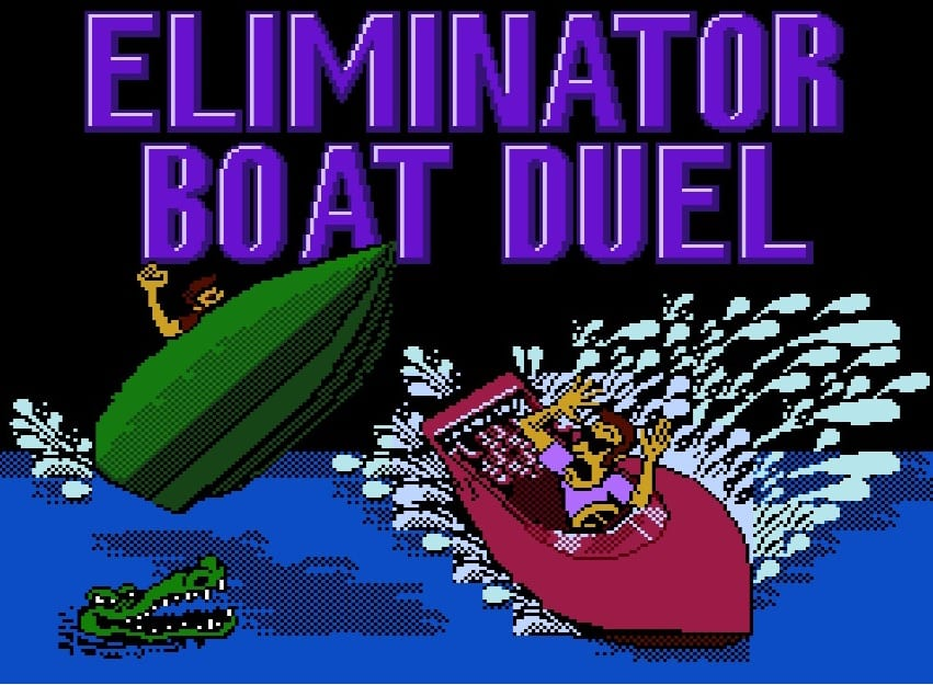 Eliminator Boat Duel title screen. One speed boat triumphantly skips over another speed boat and its frightened driver.