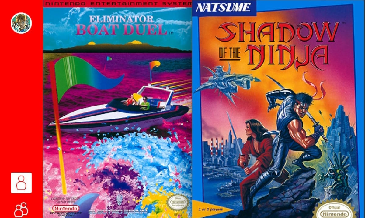 Game selection screen featuring the box art for Eliminator Boat Duel and Shadow of the Ninja