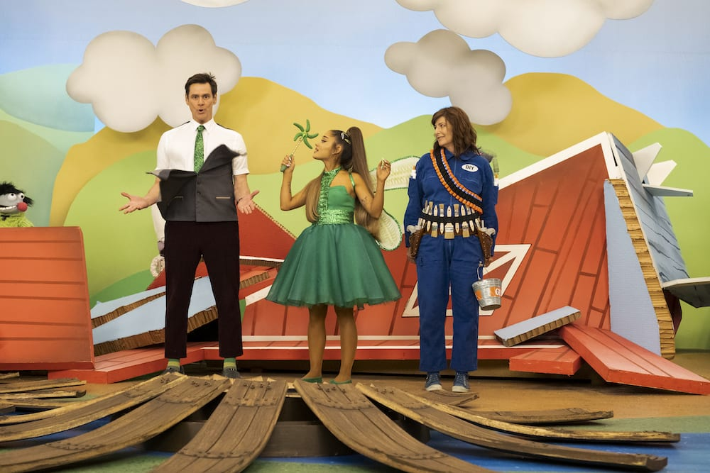 Jim Carrey, Ariana Grande & Catherine Keener in a musical number