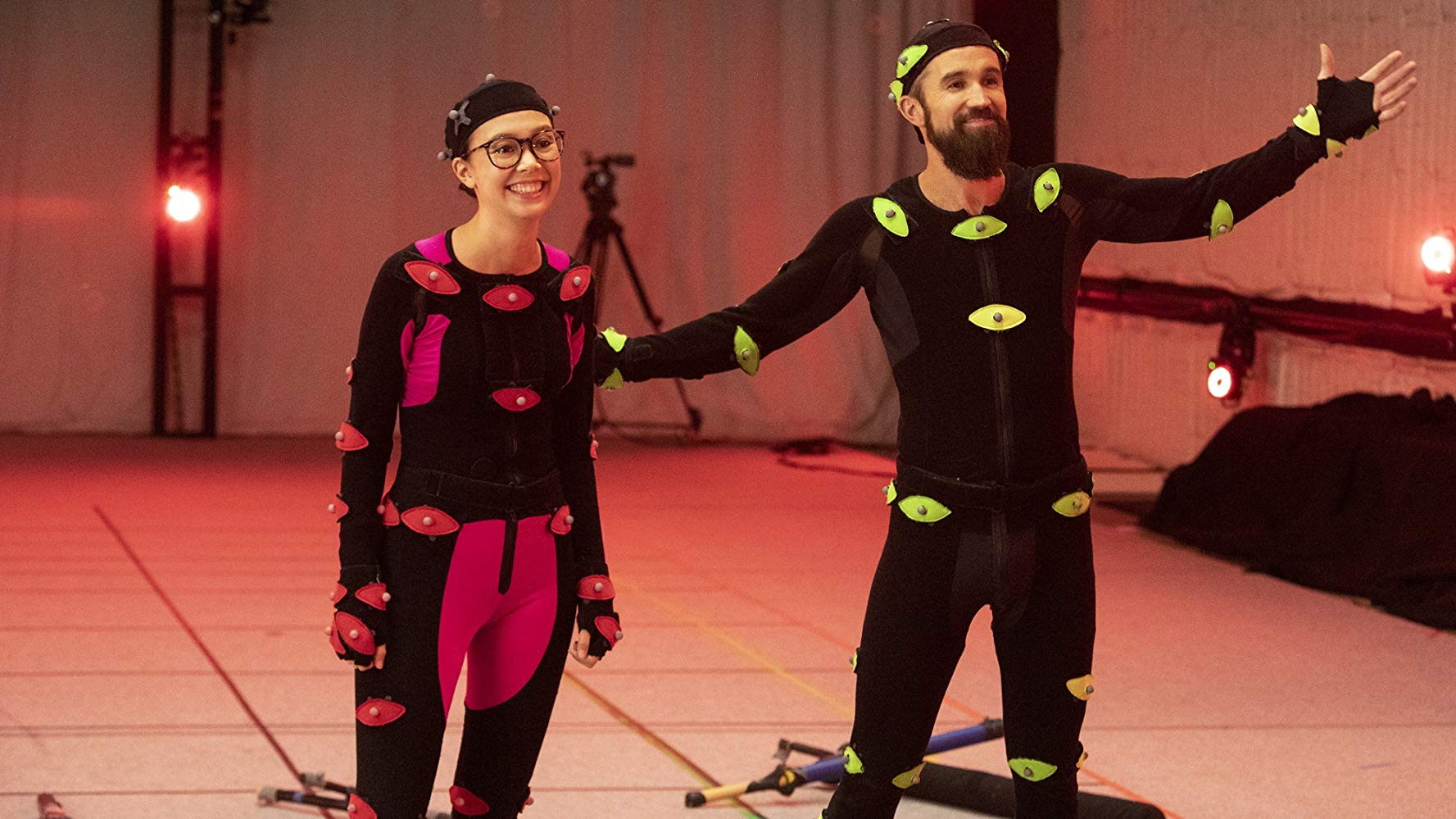 Poppy (left) and Ian (right) preparing the motion capture for the unmasking of the Masked Man