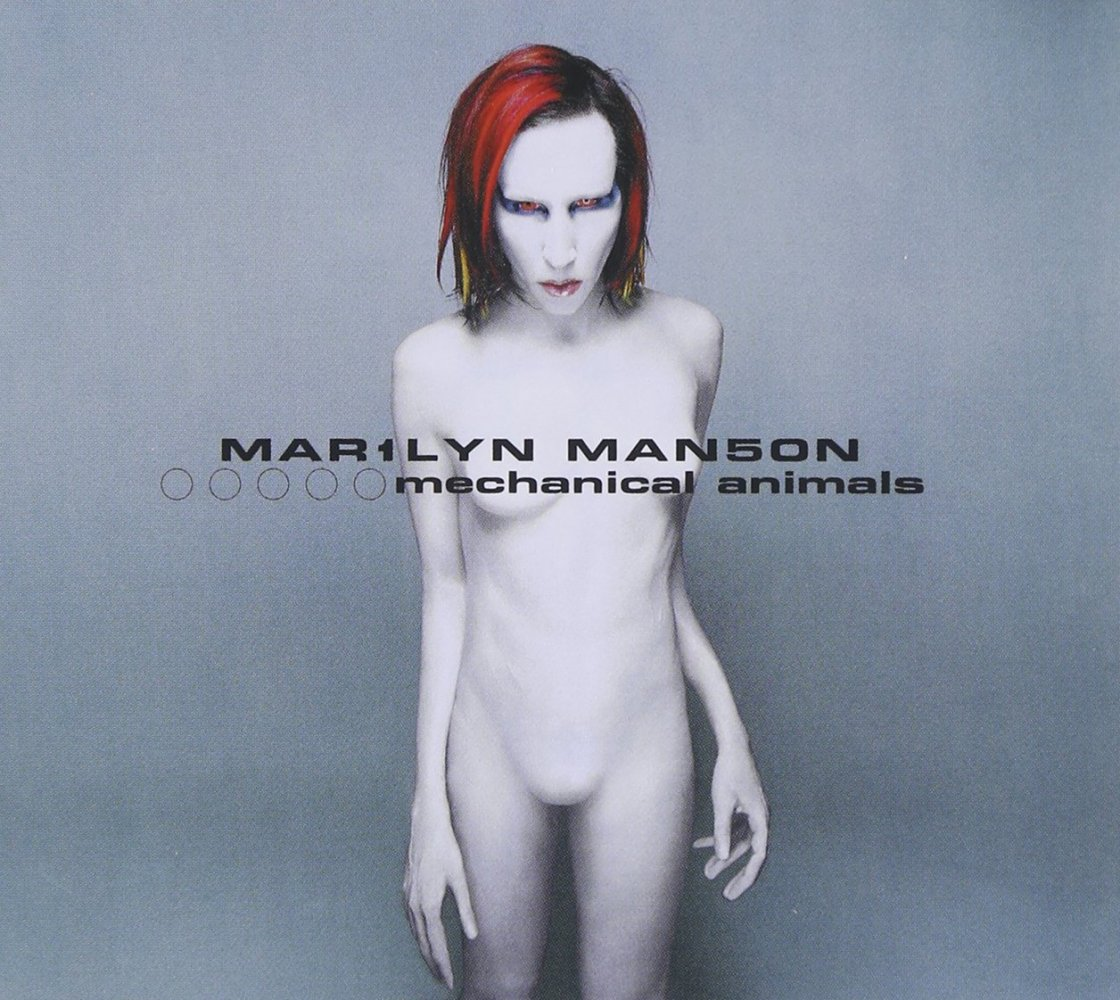 Album cover for Mechanical Animals by Marilyn Manson, featuring Marilyn Manson as an androgynous alien