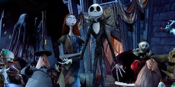 Jack and Sally greet the citizens of Halloween Town