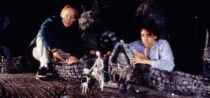 Henry Selick and Tim Burton on the set of The Nightmare Before Christmas